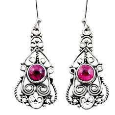 Clearance Sale- 2.33cts natural red garnet 925 sterling silver dangle earrings jewelry d41157