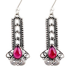 Clearance Sale- 4.20cts natural red garnet 925 sterling silver dangle earrings jewelry d41159