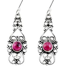 2.33cts natural red garnet 925 sterling silver dangle earrings jewelry d41160