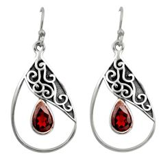4.69cts natural red garnet 925 sterling silver dangle earrings jewelry d46809