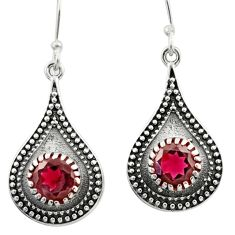 4.21cts natural red garnet 925 sterling silver dangle earrings jewelry d46846