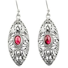 3.29cts natural red garnet 925 sterling silver dangle earrings jewelry d46908