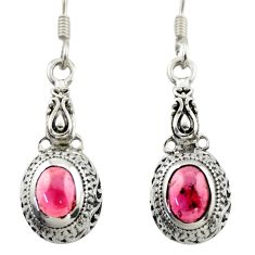 3.16cts natural red garnet 925 sterling silver dangle earrings jewelry d46953
