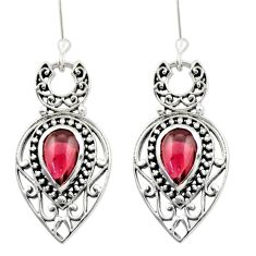 4.38cts natural red garnet 925 sterling silver dangle earrings jewelry d47007