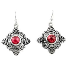 2.71cts natural red garnet 925 sterling silver dangle earrings jewelry d47010