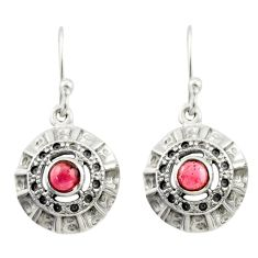 1.10cts natural red garnet 925 sterling silver dangle earrings jewelry d47030