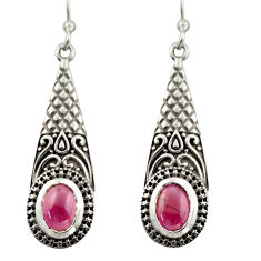 3.21cts natural red garnet 925 sterling silver dangle earrings jewelry d47082
