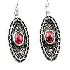 3.61cts natural red garnet 925 sterling silver dangle earrings jewelry d47087