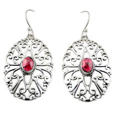 4.49cts natural red garnet 925 sterling silver dangle earrings jewelry d47112