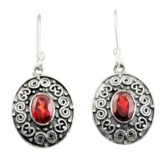 3.44cts natural red garnet 925 sterling silver dangle earrings jewelry d47125