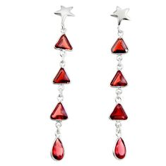 11.17cts natural red garnet 925 sterling silver dangle earrings jewelry r19948