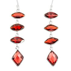 11.96cts natural red garnet 925 sterling silver dangle earrings jewelry r19974