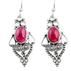 4.28cts natural red garnet 925 sterling silver dangle earrings jewelry r31165