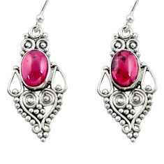 4.23cts natural red garnet 925 sterling silver dangle earrings jewelry r31182