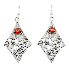 3.09cts natural red garnet 925 sterling silver dangle earrings jewelry r32974