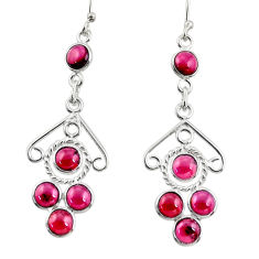 7.67cts natural red garnet 925 sterling silver dangle earrings jewelry r33428