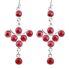 14.20cts natural red garnet 925 sterling silver dangle earrings jewelry r33573