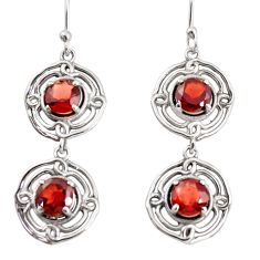 5.66cts natural red garnet 925 sterling silver dangle earrings jewelry r36857