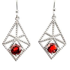 2.47cts natural red garnet 925 sterling silver dangle earrings jewelry r36876