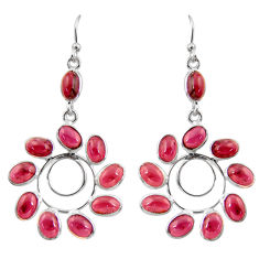 17.49cts natural red garnet 925 sterling silver dangle earrings jewelry r37448