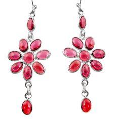 14.59cts natural red garnet 925 sterling silver dangle earrings jewelry r37462
