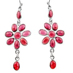 15.28cts natural red garnet 925 sterling silver dangle earrings jewelry r37465