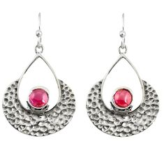 2.02cts natural red garnet 925 sterling silver dangle earrings jewelry r39090