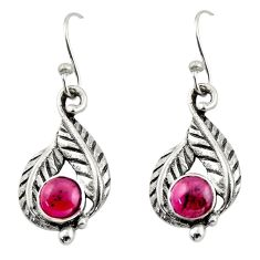 2.11cts natural red garnet 925 sterling silver dangle earrings jewelry r42931