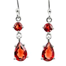 4.92cts natural red garnet 925 sterling silver dangle earrings jewelry r45376