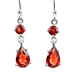 5.10cts natural red garnet 925 sterling silver dangle earrings jewelry r45377