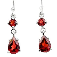 4.77cts natural red garnet 925 sterling silver dangle earrings jewelry r45433