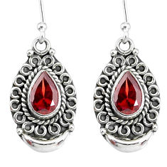 4.21cts natural red garnet 925 sterling silver dangle earrings jewelry r89305