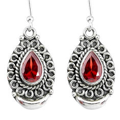 4.37cts natural red garnet 925 sterling silver dangle earrings jewelry r89306