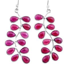 18.73cts natural red garnet 925 sterling silver dangle earrings jewelry t12348