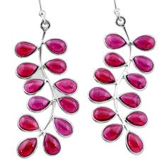 19.73cts natural red garnet 925 sterling silver dangle earrings jewelry t1802