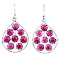 11.73cts natural red garnet 925 sterling silver dangle earrings jewelry t1803