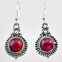 2.43cts natural red garnet 925 sterling silver dangle earrings jewelry t26844