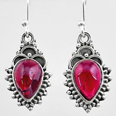5.06cts natural red garnet 925 sterling silver dangle earrings jewelry t26863