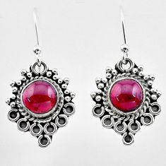 2.72cts natural red garnet 925 sterling silver dangle earrings jewelry t26922