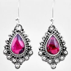 2.83cts natural red garnet 925 sterling silver dangle earrings jewelry t26982