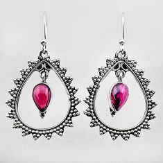 3.51cts natural red garnet 925 sterling silver dangle earrings jewelry t27002