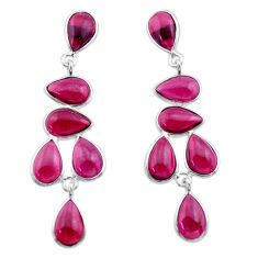 19.40cts natural red garnet 925 sterling silver dangle earrings jewelry t30296