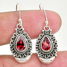 3.41cts natural red garnet 925 sterling silver dangle earrings jewelry t4261