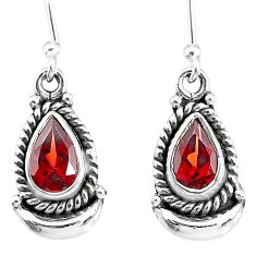4.16cts natural red garnet 925 sterling silver dangle earrings r89189