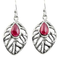 4.93cts natural red garnet 925 sterling silver dangle leaf earrings r39194