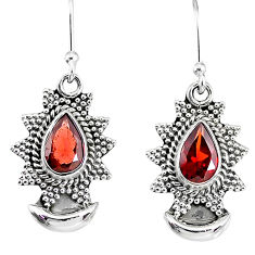 5.08cts natural red garnet 925 sterling silver dangle moon earrings r89151