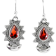 4.60cts natural red garnet 925 sterling silver dangle moon earrings r89163