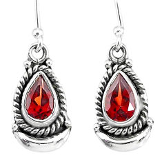 3.97cts natural red garnet 925 sterling silver dangle moon earrings r89183
