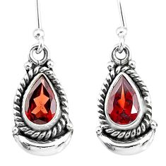 4.46cts natural red garnet 925 sterling silver dangle moon earrings r89213