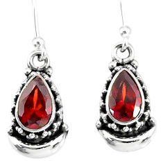 4.15cts natural red garnet 925 sterling silver dangle moon earrings r89224
